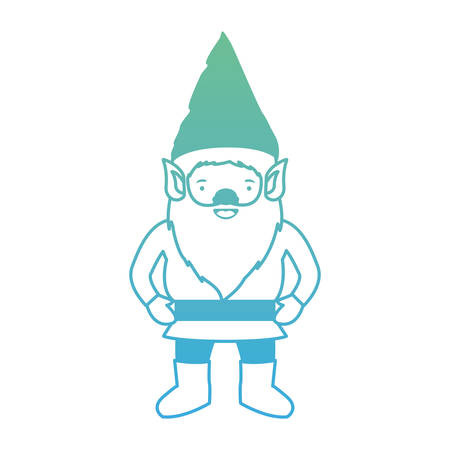 gnome with costume in degraded green to blue color contour vector illustration
