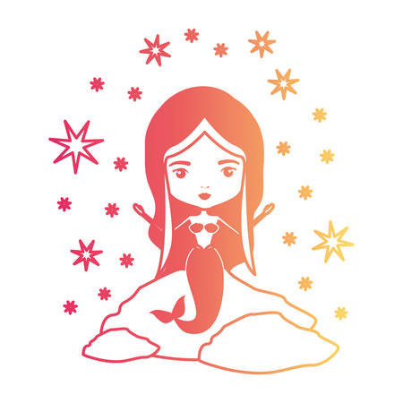 mermaid in a rock with stars in degraded magenta to yellow color contour vector illustration Illustration