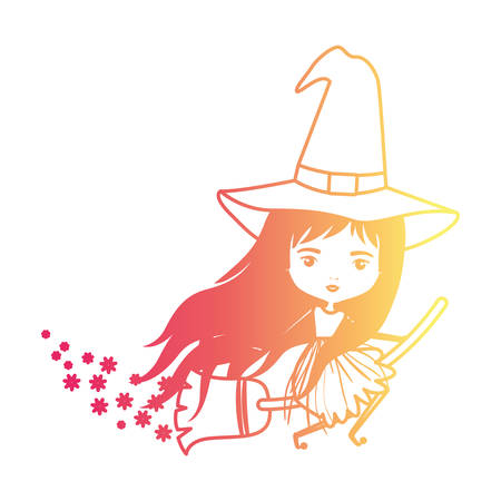 crone: cute witch flying with broom and trace of stars in degraded magenta to yellow color contour vector illustration