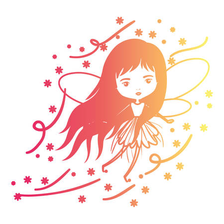 girly fairy flying with wings and long hair and stars in degraded magenta to yellow color contour vector illustration
