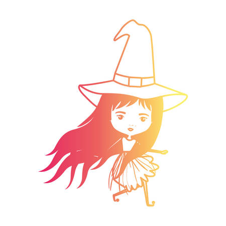 cute witch flying in degraded magenta to yellow color contour vector illustration