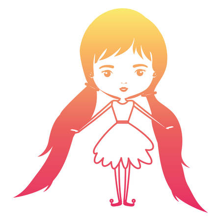 girly fairy without wings and long hair with pigtails in degraded magenta to yellow color contour vector illustration