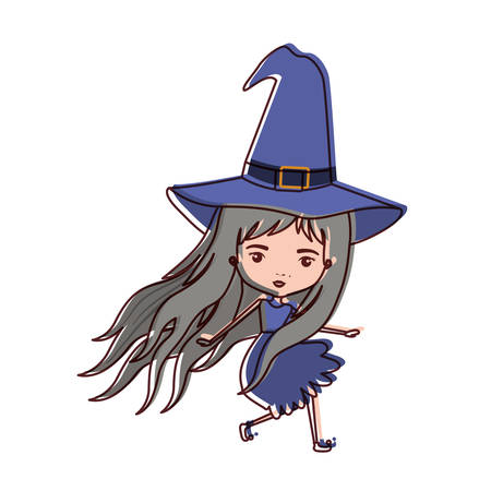 cute witch flying in watercolor silhouette vector illustration