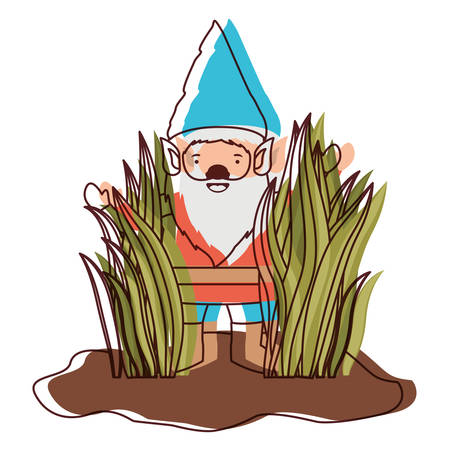 gnome coming out of the bushes in watercolor silhouette vector illustration