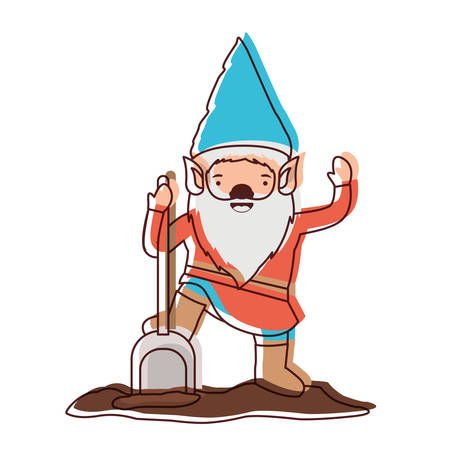 gnome with costume and shovel in watercolor silhouette vector illustration Illustration