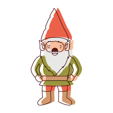 gnome with costume in watercolor silhouette vector illustration