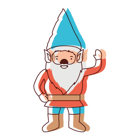 gnome with costume and gesture of greeting in watercolor silhouette vector illustration Illustration