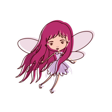 girly fairy flying with wings and long hair in watercolor silhouette vector illustration