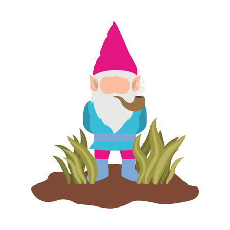 gnome without face coming out of the bushes with smoking pipe on white background vector illustration Illustration