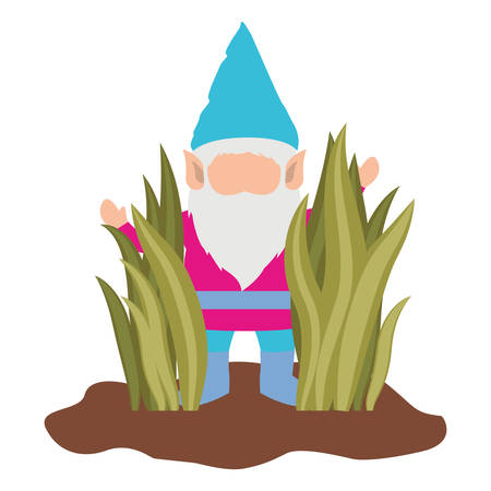 gnome without face coming out of the bushes on white background vector illustration