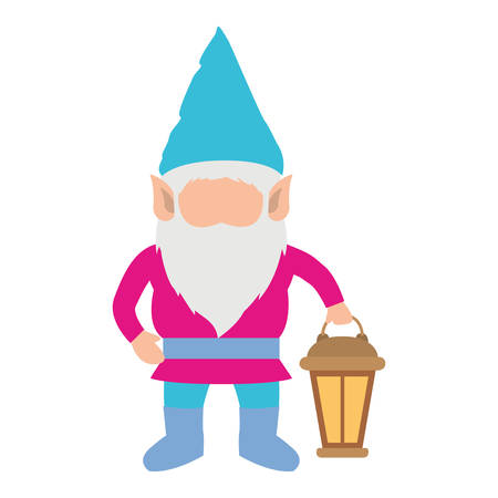 gnome without face and colorful costume with hand lamp on white background vector illustration