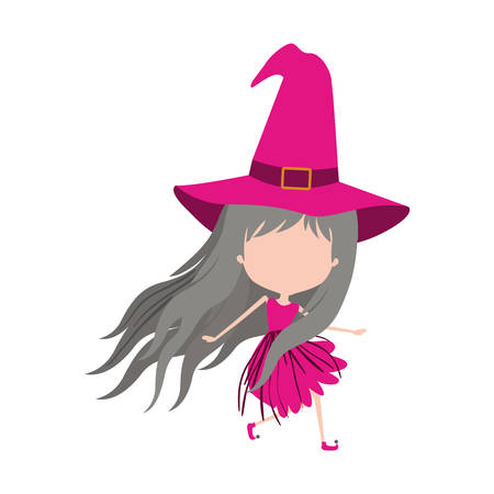 cute witch flying without face colorful silhouette on white background vector illustration