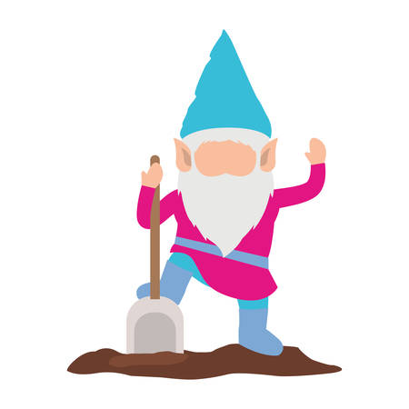 gnome without face and colorful costume with shovel on white background vector illustration