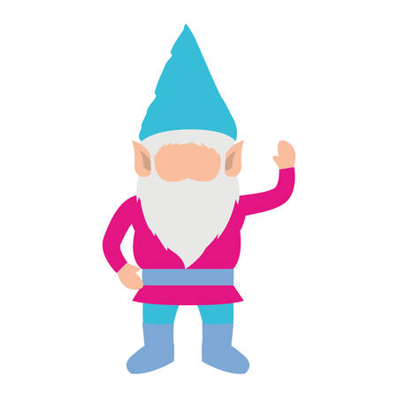 gnome without face and colorful costume and gesture of greeting on white background vector illustration