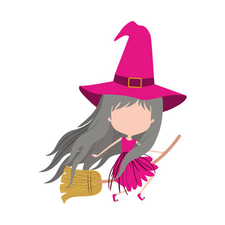 cute witch flying in broom and without face in colorful silhouette on white background vector illustration