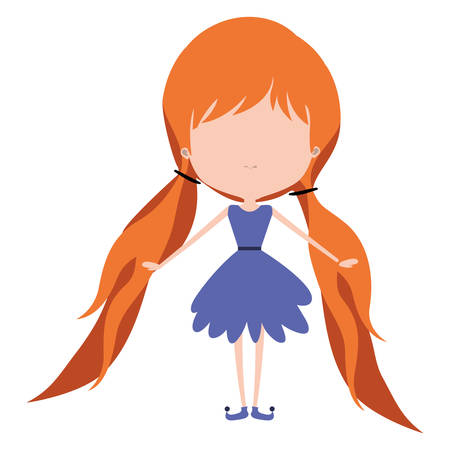 girly fairy without face and wings and redhead with pigtails in purple dress on white background vector illustration