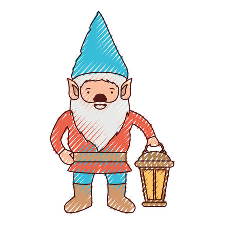 gnome with hand lamp in colored crayon silhouette vector illustration