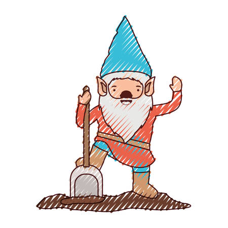 gnome with costume and shovel in colored crayon silhouette vector illustration Illustration