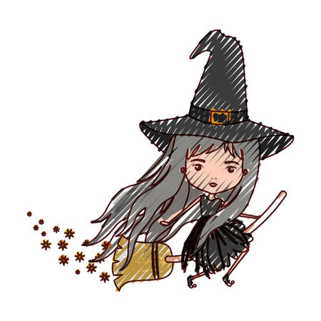 crone: cute witch flying with broom colorful and trace of stars in colored crayon silhouette vector illustration