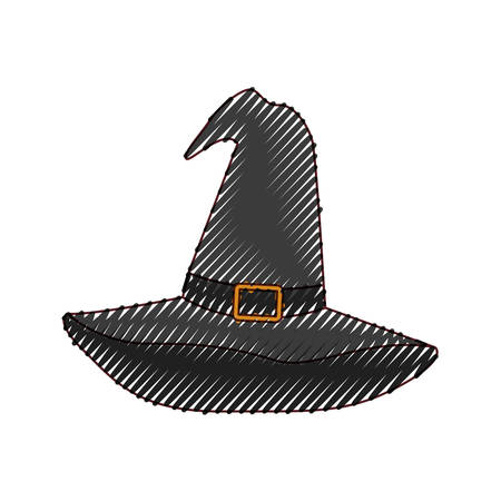 witch hat black in colored crayon silhouette vector illustration