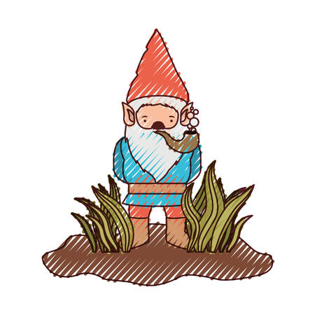 gnome without face coming out of the bushes with smoking pipe on colored crayon silhouette vector illustration