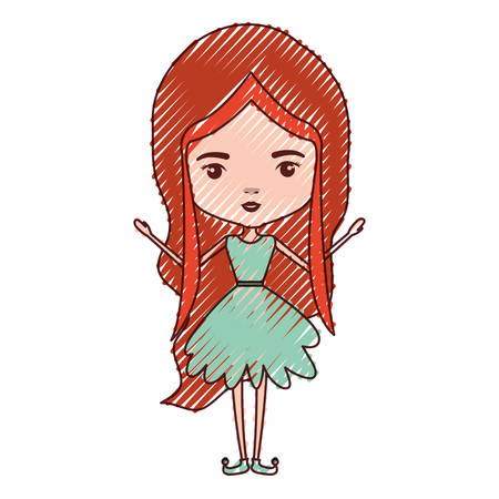 girly fairy without wings and redhead in green dress in colored crayon silhouette vector illustration