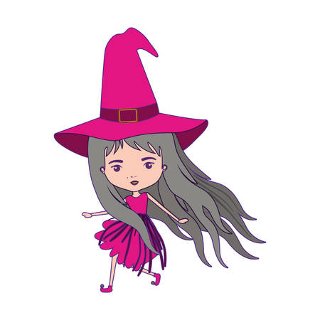 crone: cute witch flying in colorful silhouette with purple contour vector illustration Illustration