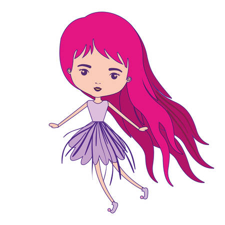 girly fairy without wings and magenta long hair in violet dress with purple contour vector illustration