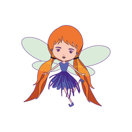 girly fairy with wings and redhead with pigtails and purple dress with purple contour vector illustration Illustration