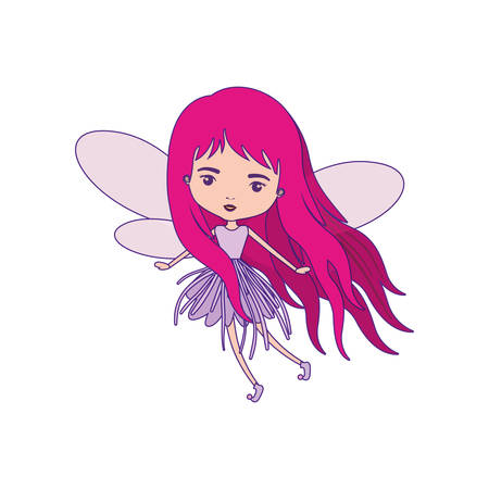 girly fairy with wings and magenta long hair in violet dress with purple contour vector illustration