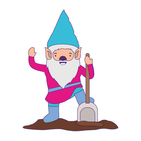 gnome with colorful costume and shovel with purple contour vector illustration