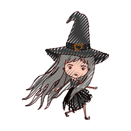 crone: cute witch flying in colored crayon silhouette vector illustration