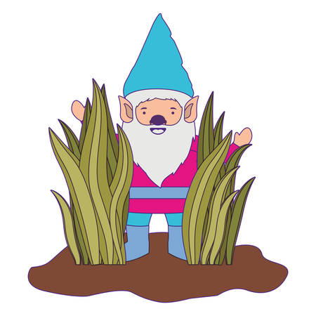 gnome coming out of the bushes with purple contour vector illustration Illustration