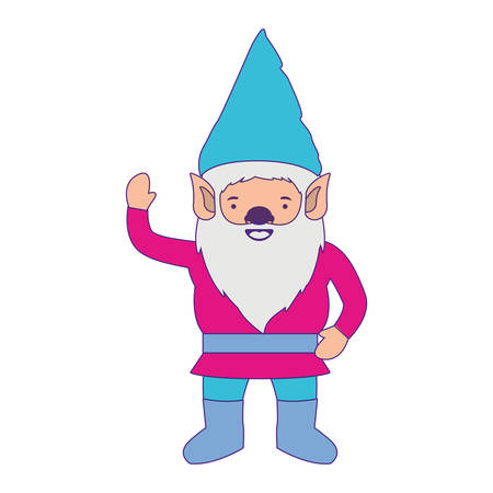 gnome with colorful costume and gesture of greeting with purple contour vector illustration Illustration