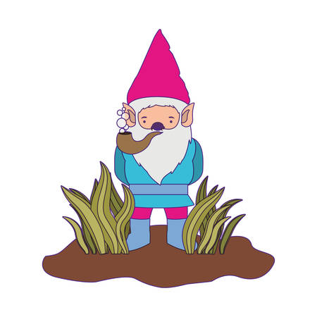 gnome coming out of the bushes with smoking pipe and purple contour vector illustration