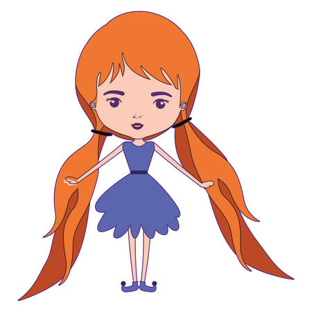 girly fairy without wings and redhead with pigtails in purple dress with purple contour vector illustration
