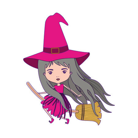 cute witch flying in broom with magenta dress with purple contour vector illustration Illustration