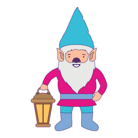 gnome with colorful costume and hand lamp with purple contour vector illustration