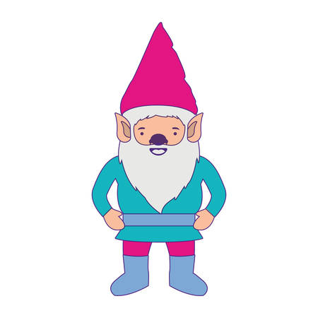 gnome with costume colorful and purple contour vector illustration Illustration