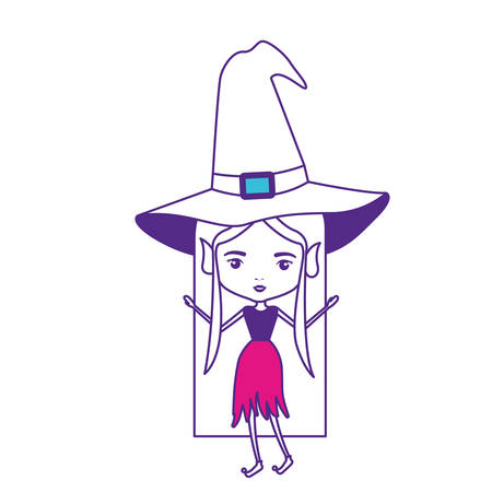 witch with hat and straight long hair on color sections silhouette vector illustration