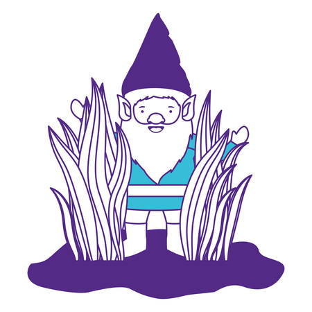 gnome coming out of the bushes on color sections silhouette vector illustration Illustration