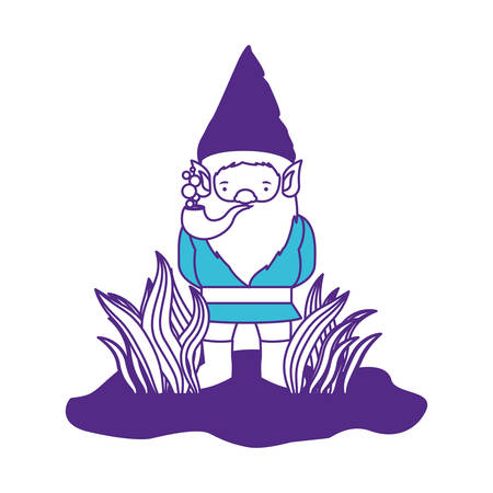 gnome coming out of the bushes with smoking pipe on color sections silhouette vector illustration Illustration
