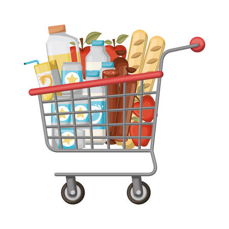supermarket shopping cart with foods sausage and bread apples and drinks orange juice and water bottle and lacteal vector illustration