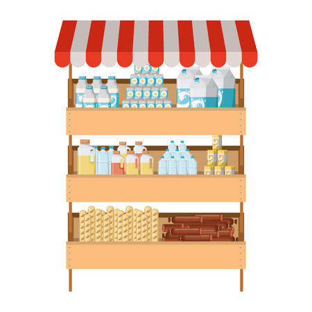 supermarket shelf with sunshade colorful with foods and beverages vector illustration