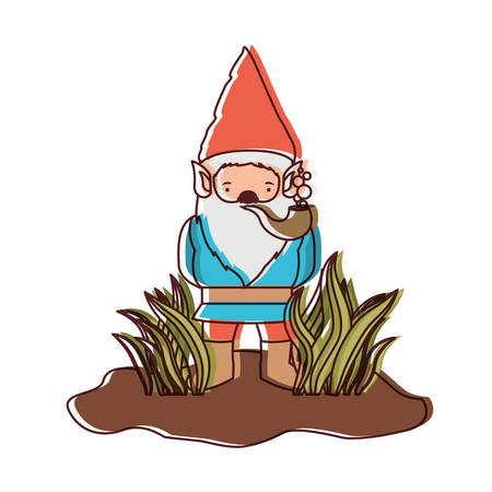 gnome without face coming out of the bushes with smoking pipe on watercolor silhouette vector illustration