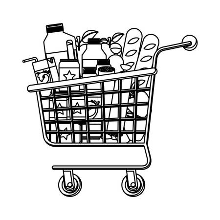 supermarket shopping cart with foods sausage and bread apples and drinks orange juice and water bottle and lacteal in monochrome silhouette vector illustration