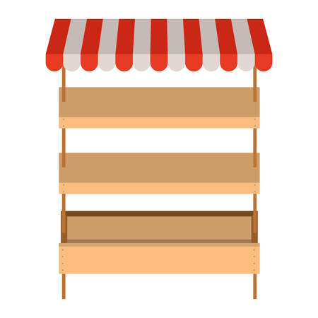 supermarket shelves empty with three levels and colorful sunshade vector illustration