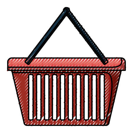 shopping basket in colored crayon silhouette vector illustration