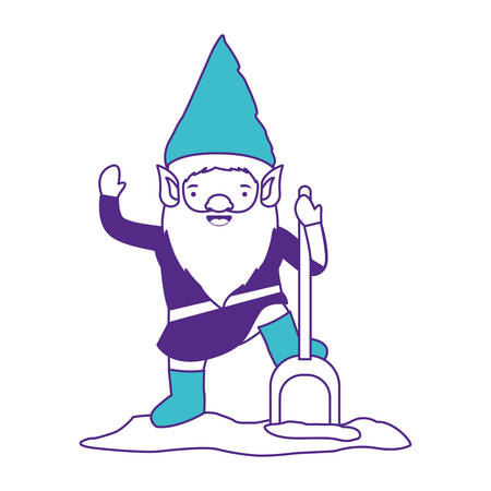 gnome with costume and shovel on color sections silhouette vector illustration