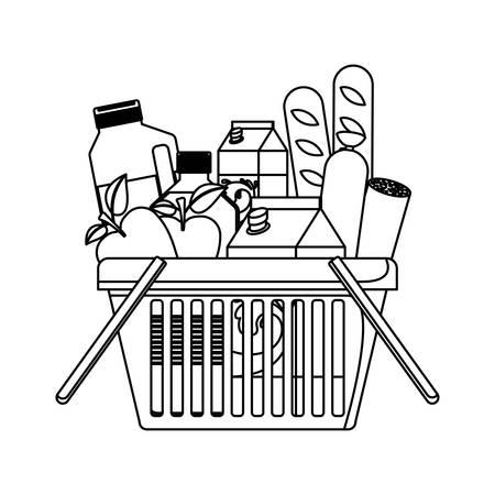 winkelmandje met voedsel worst en brood appels en drankjes sinaasappelsap en waterfles en melkpak in zwart-wit silhouet vectorillustratie